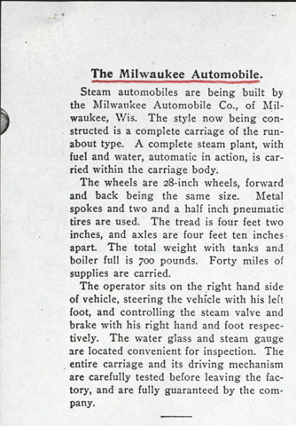 Milwaukee Aubomobile Company, February 1900, The Automobile Magazine Article, p. 29, photocopy, Conde Collection