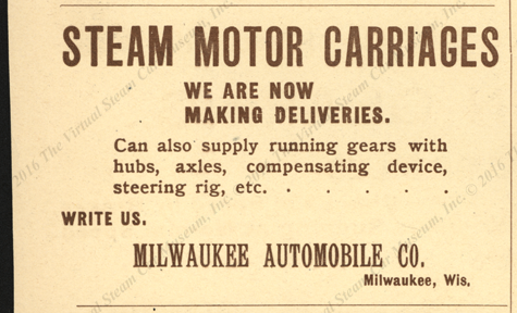 Milwaukee Automobile Company Magazine Advertisement, June 1900