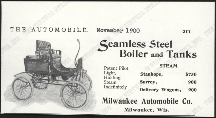 Milwaukee Aubomobile Company, The Autmobile, November 1900, p. 211, Conde Collection.