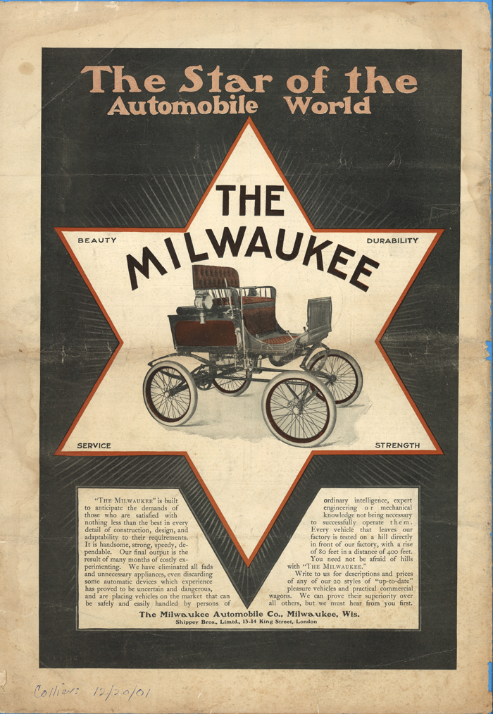 Milwaukee Automobile Company Magazine Advertisement, December 21, 1900, Colliers Magazine