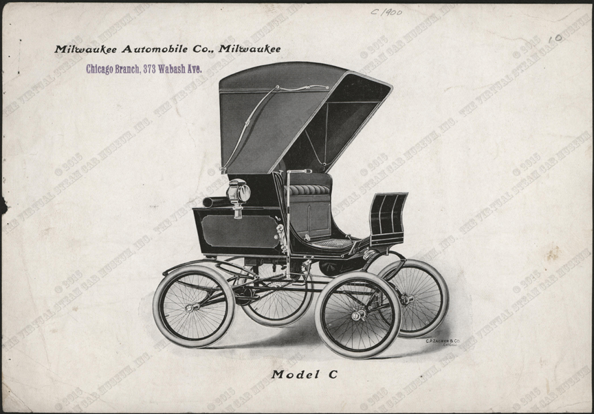Milwaukee Automobile Company, Advertising Image, 1900 - 1902, Chicago Agent, Conde Collection, Model C