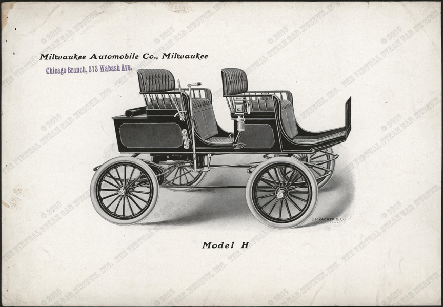 Milwaukee Automobile Company, Advertising Image, 1900 - 1902, Chicago Agent, Conde Collection, Model H