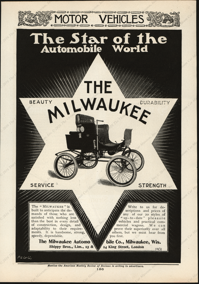 Milwaukee Automobile Company Magazine Advertisement, The American Monthly Review of Reviews, 1901