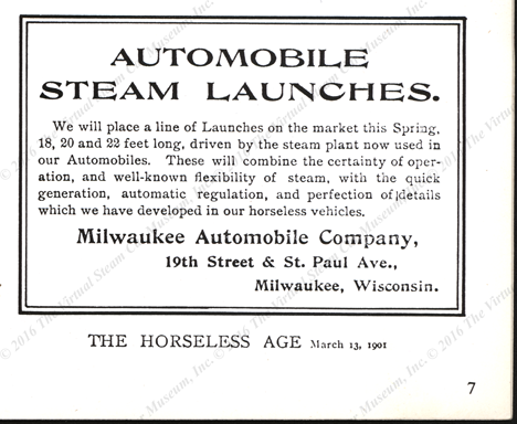 Milwaukee Automobile Company Magazine Advertisement, Horseless Age, March 13, 1901