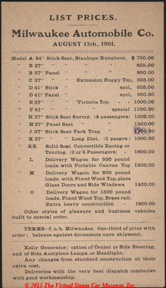 Milwaukee Automobile Company List Prices, August 1, 1901