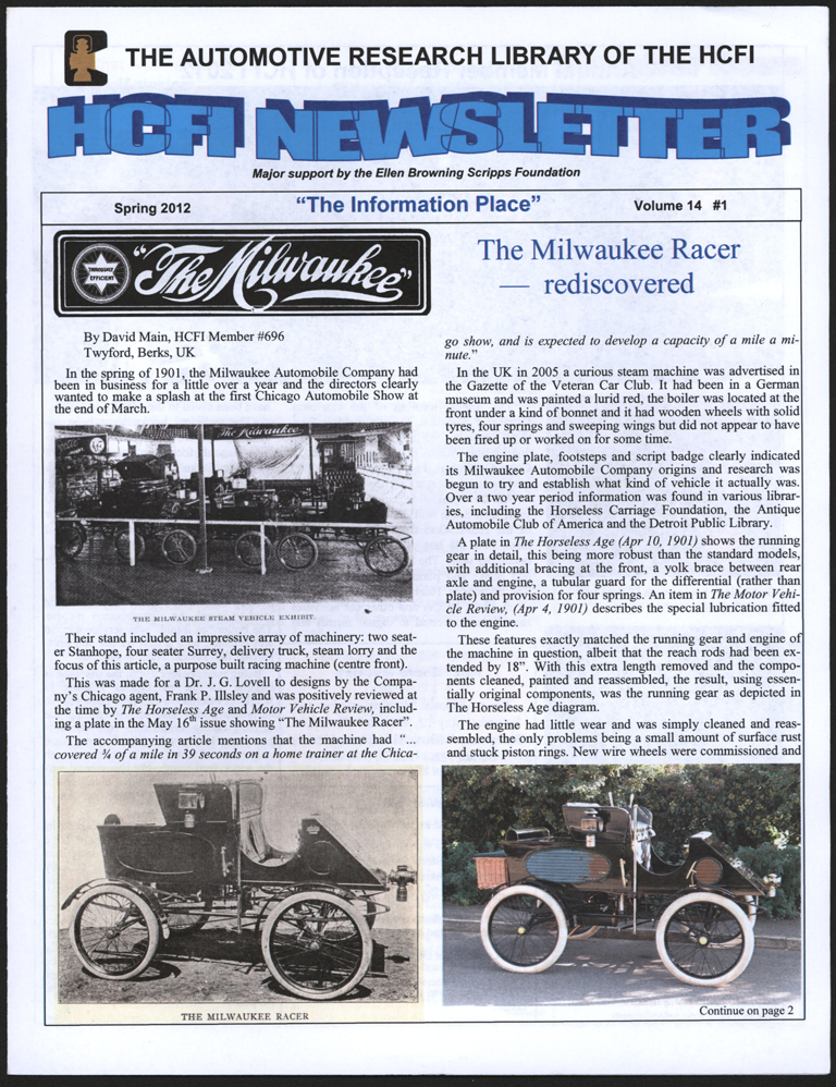 Milwaukee Automobile Company Steam Car, Racer, Horseless Carriage Foundation Newsletter, Spring 2012