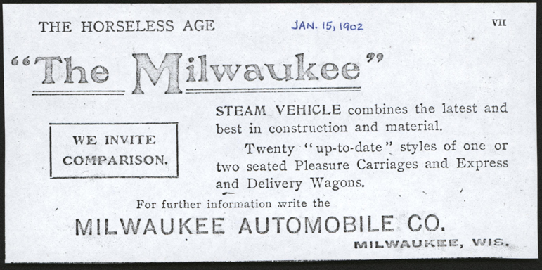 Milwaukee Aubomobile Company, Horseless Age, January 15, 1902, photocopy, Conde Collection.
