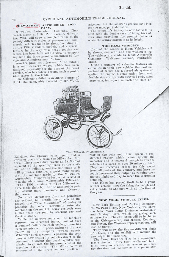 Milwaukee Aubomobile Company, March 1902, Cycle and Automobile Trade Journal Article, photoopy, Conde Collection.