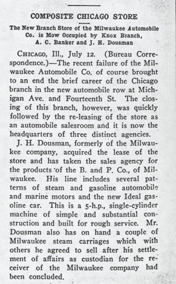 Milwaukee Automobile Compamy, July 19, 1902, Automobile and Motor Review, p. 17, Photocopy, Conde Collection.