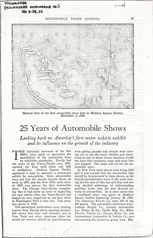 Milwaukee Aubomobile Company, January 1, 1925 Article, Retrospective on auto shows, photocopy, Conde Collection.