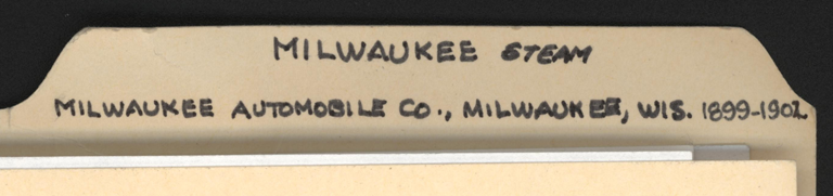 Milwaukee Automobile Company, John A. Conde File Folder, Conde Collection