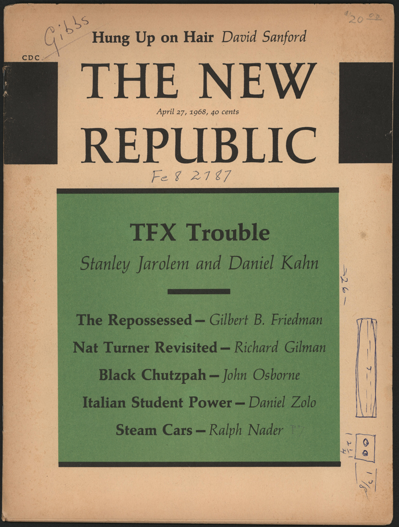 Ralph Nader Steam Car Article, April 27, 1968, New Republic, Cover