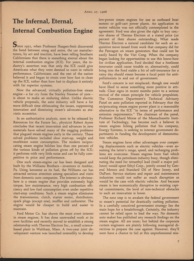 Ralph Nader Steam Car Article, April 27, 1968, New Republic, page 7