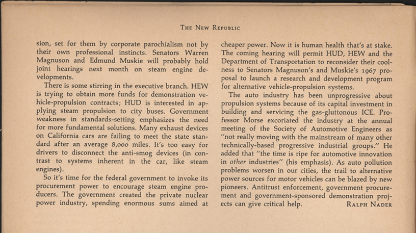Ralph Nader Steam Car Article, April 27, 1968, New Republic, Page 8