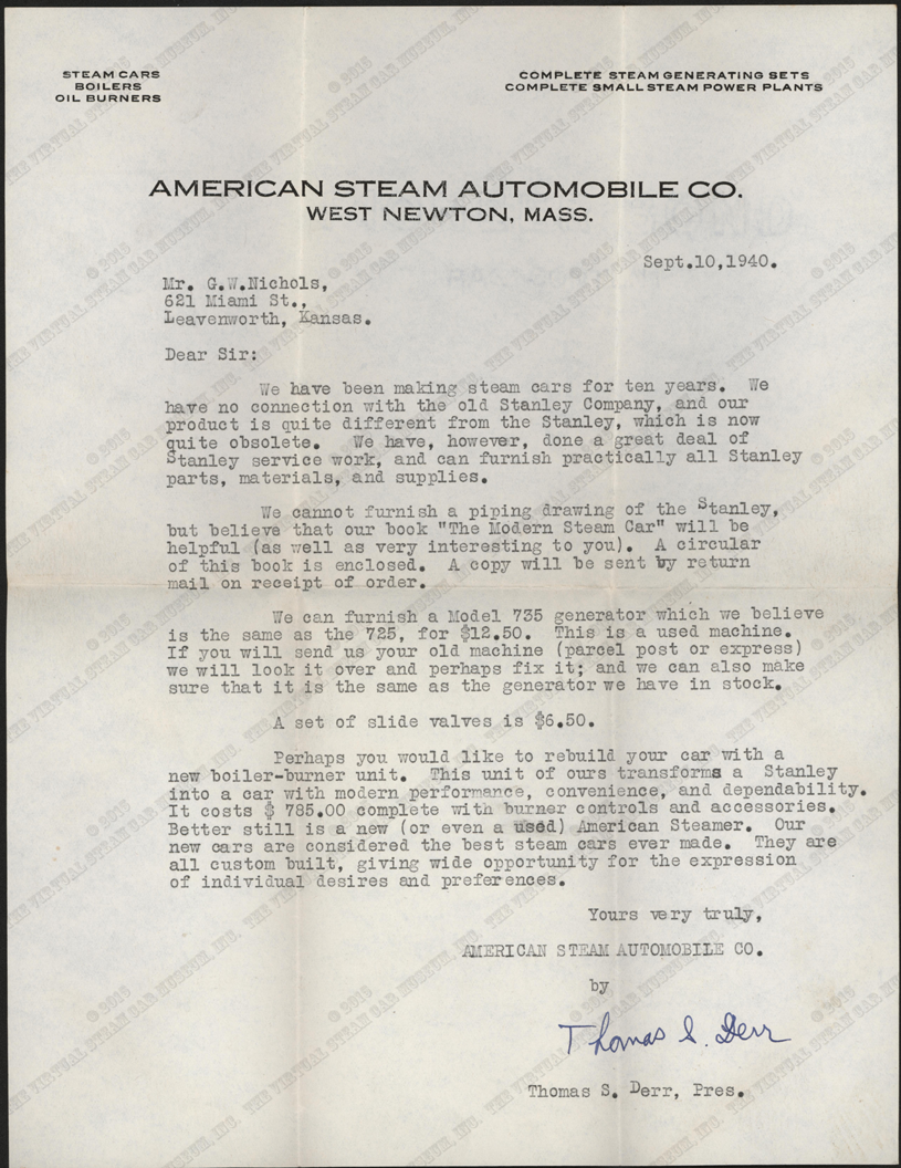 Letter, Thomas S. Derr to G. W. Nichols, September 10, 1940, Nichols Collection