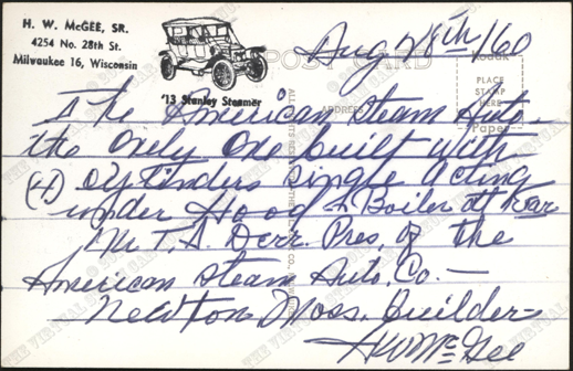 American Steam Automobile Company, Empire Steam Car, G. W. Nichols Collection, Harry McGee Postcard, Rufus Limpp Car Museum, Reverse