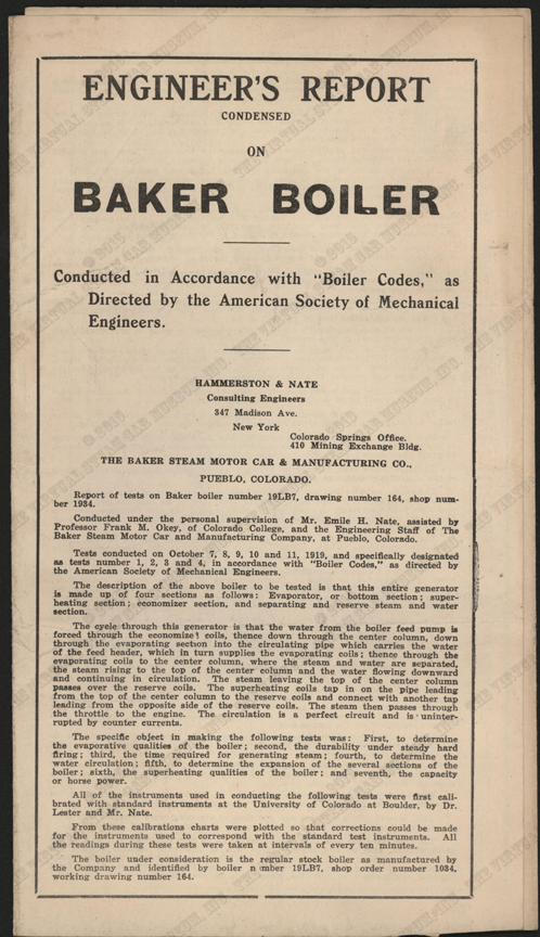 Baker Steam Car and Manufacturing Company, Engineer's Report, October 31, 1919, Nichols Collection.