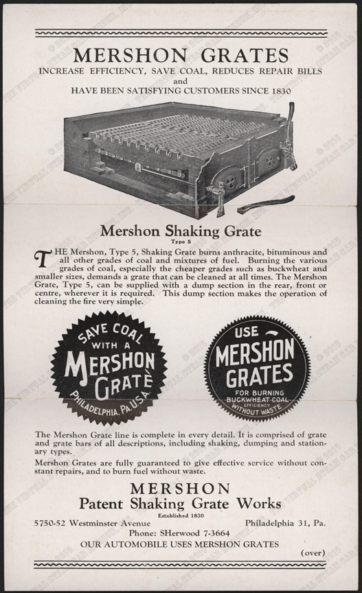 Mershon Patent Shaking Grate Works Brochure, G. W. Nichols Collection, Front.