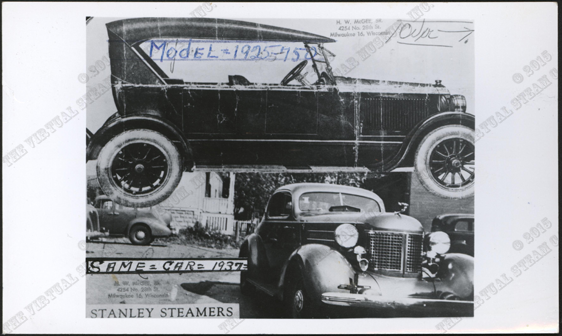 Harry McGee Photograph Montage of 1924 and 1937 Stanley Steam Cars, Front, Nichols Collection.