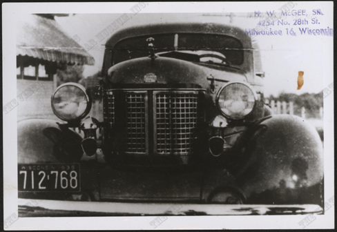 Harry McGee Photograph, 1937 Stanley Steamer, Front, Nichols Collection.