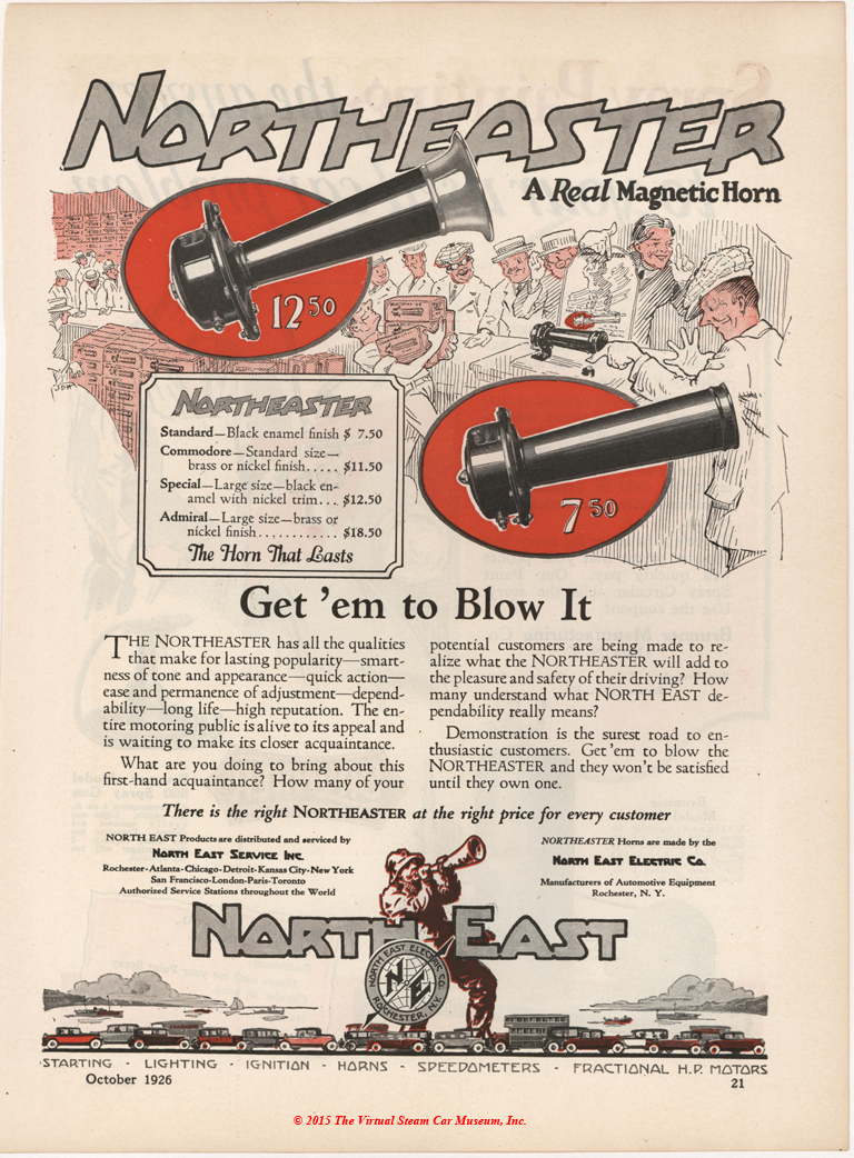 North East Electric Company, October 1926 Magazine Advertisement, Electric Horns