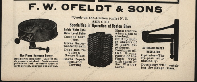 F. W. & Olfelt &  Sons Magazine Advertisement 1904, Cycle and Automobile Trade Journal, p. 463.