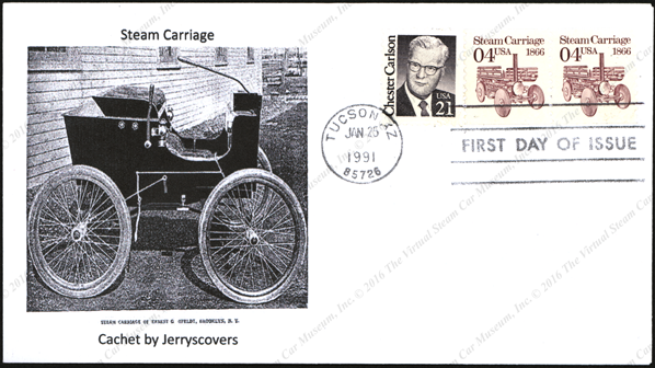 First Day Cover with Olfeldt Steam Car, January 24, 1991, Dudgeon Steam Carriage Coil Stamp