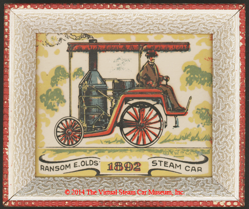 Ransom E. Olds Steam Car 1892.  Fanciful Drawing.