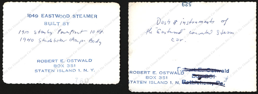 Robert E. Ostwald, Eastwood Steamer, 1939 Photographs, Reverse