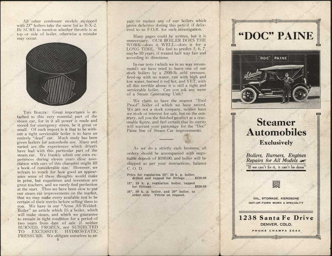 """Doc"" Paine Steamer Automobiles Exclusively, Advertising Brochure, Denver, CO, ca: 1915 - 1920"