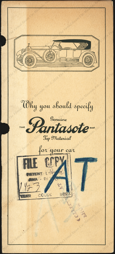 Pantasote Company, February 1923 Automobile Top Material Trade Catalogue