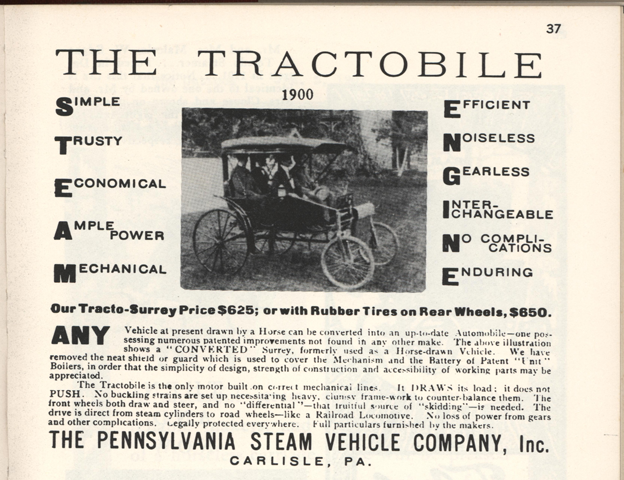 Pennsylvania Steam Vehicle Company, Floyd Clymer, P. 37, 1900 Advertisement