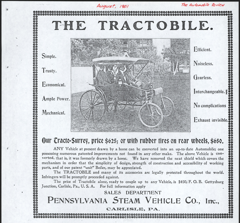 Pennsylvania Steam Vehicle Company, Carlisle, PA, August 1901, The Automobile Review, John A. Conde Collection.