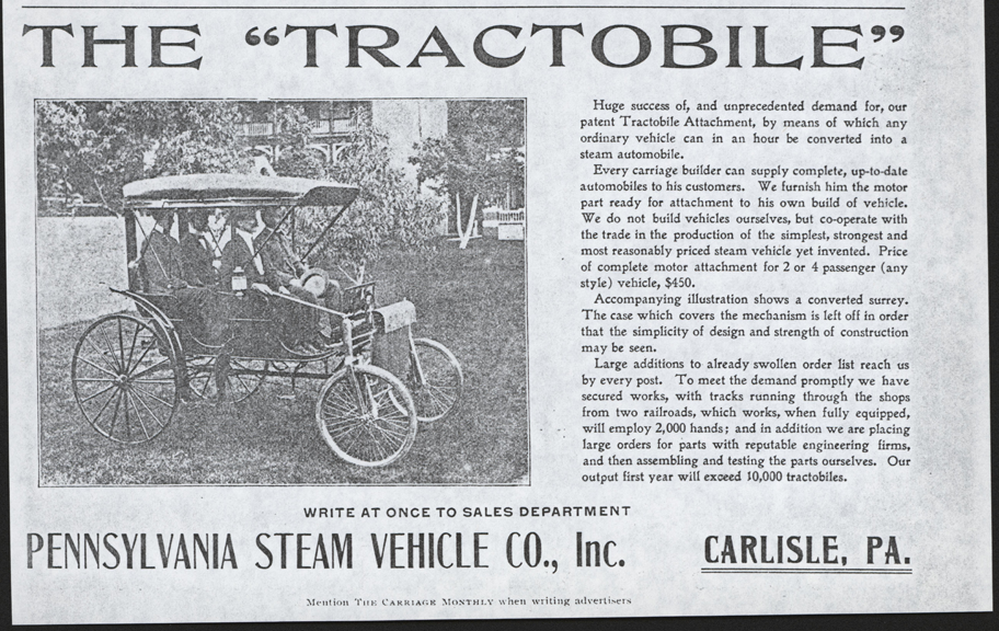 Pennsylvania Steam Vehicle Company, Carlisle, PA, October 1901, The Carriage Monthly magazine, p. 75.  John A. Conde Collection.