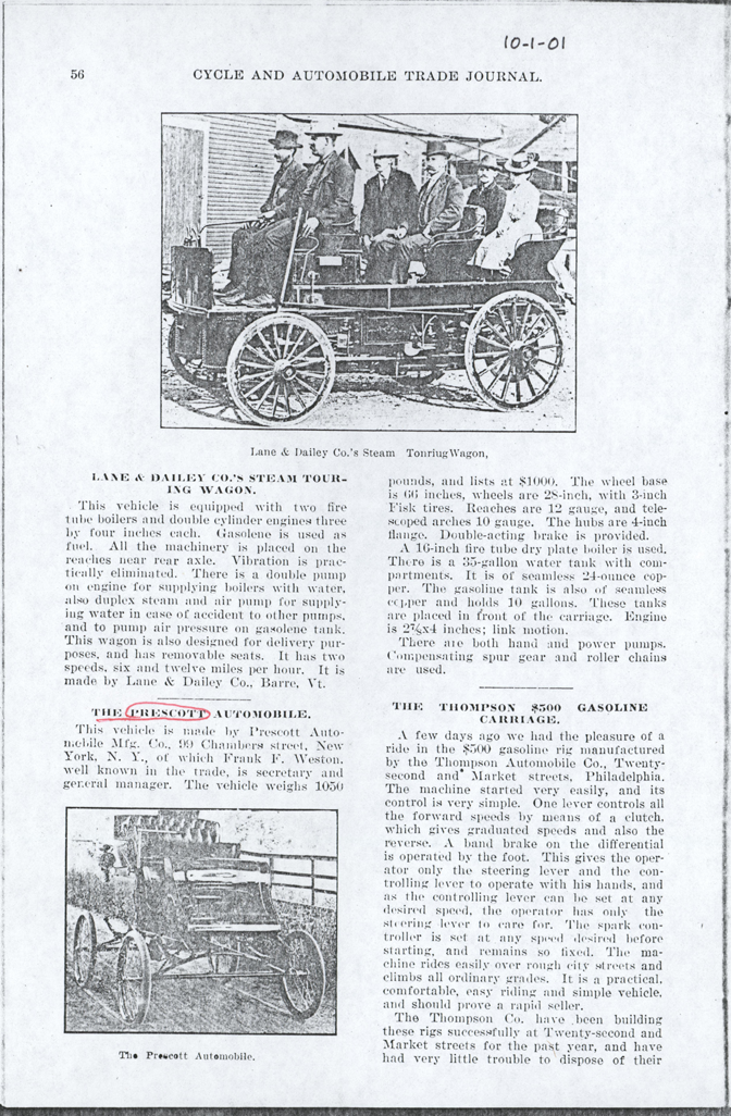 Prescott Automobile Manufacturing Company, Cycle and Automobile Trade Journal, October 1901, p. 56, Photocopy, Conde Collection.