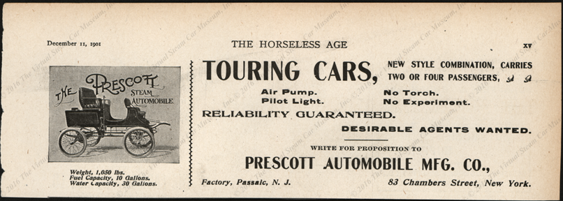 Prescott Automobile Manufcaturing Company, Decemb er 11, 1901, Magazine Advertisement, Horseless Age, Vol. 8, No. 37, page xv.