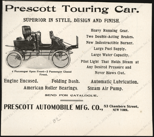Prescott Automobile Manufcaturing Company, 1902, Magazine Advertisement, maybe Horseless Age
