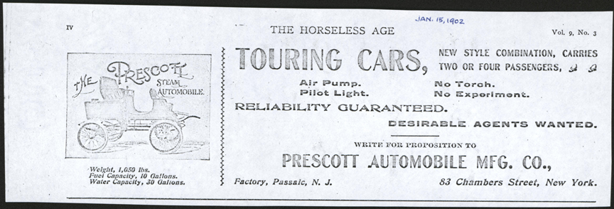 Prescott Automobile Manufacturing Company, Horseless Age, January 15, 1902, p. iv, photocopy, Conde Collection.