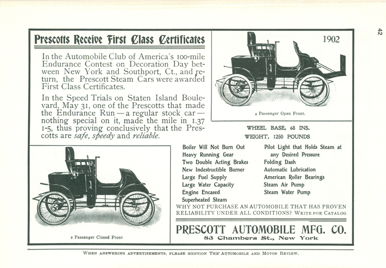 Prescott Automobile Manufacturing Co, Floyd Clymer p. 42
