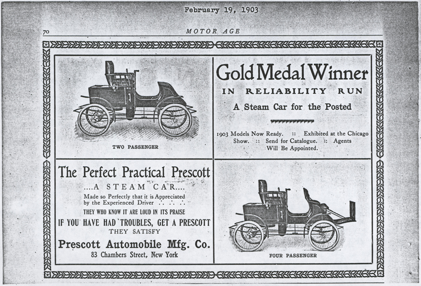 Prescott Automobile Manufacturing Company, Motor Age, February 19, 1903, photocopy, Conde Collection.