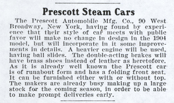 Prescott Automobile Manufacturing Company, Cycle and Automobile Trade Journal, January 1904, p. 122, photocopy, Conde Collection.