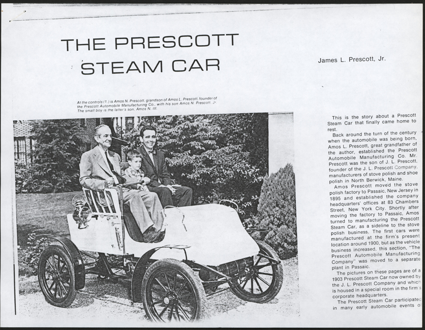 Prescott Automobile Manufacturing Company, Antique Automobile Magazine Article, May.June 1979, Photocopy, Conde Collection.