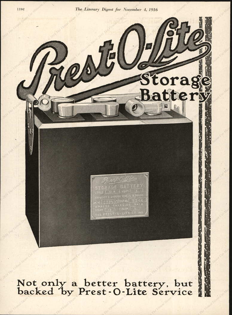 Prest-O-Lite Comany Magazine Advertisement, Liberary Digest, November 4, 1916, p. 1192
