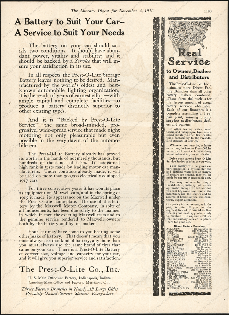 Prest-O-Lite Comany Magazine Advertisement, Liberary Digest, November 4, 1916, p. 1193