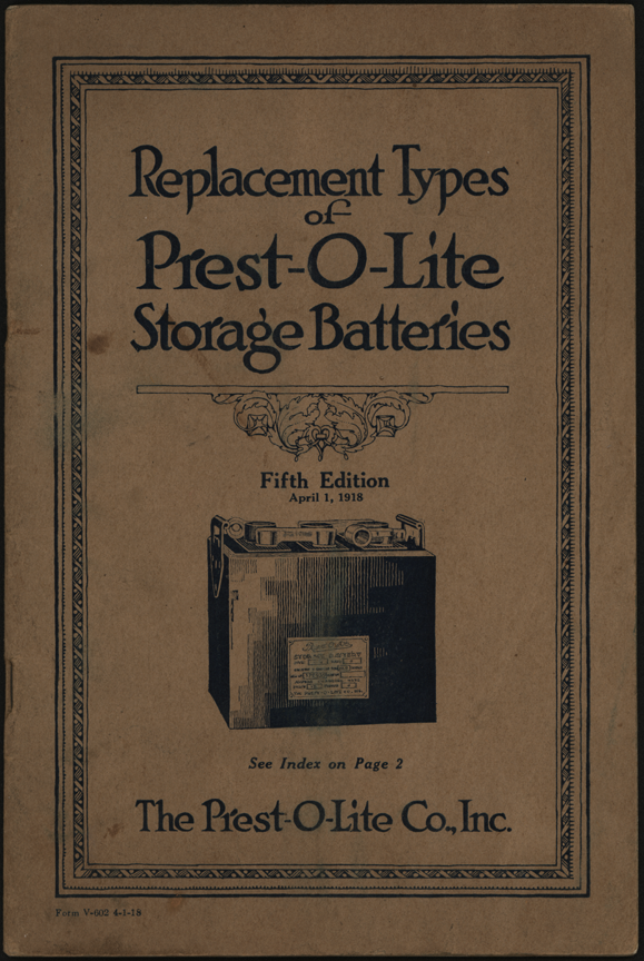 Prest-O-Lite Battery Company Trade Catalogue January 15, 1918