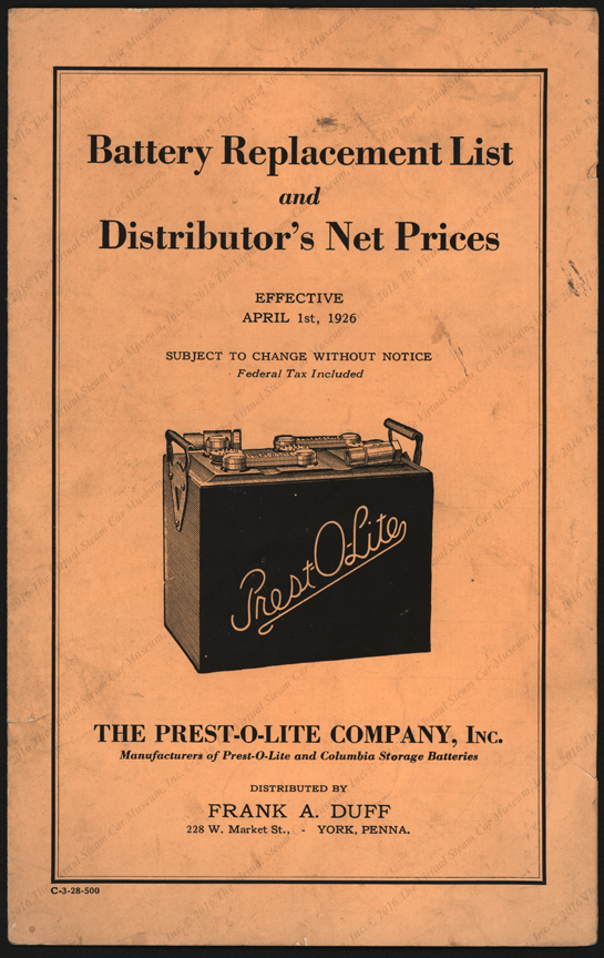 Prest-O-Lite Battery Catalogue with Stanley Mentioned, April 1, 1926