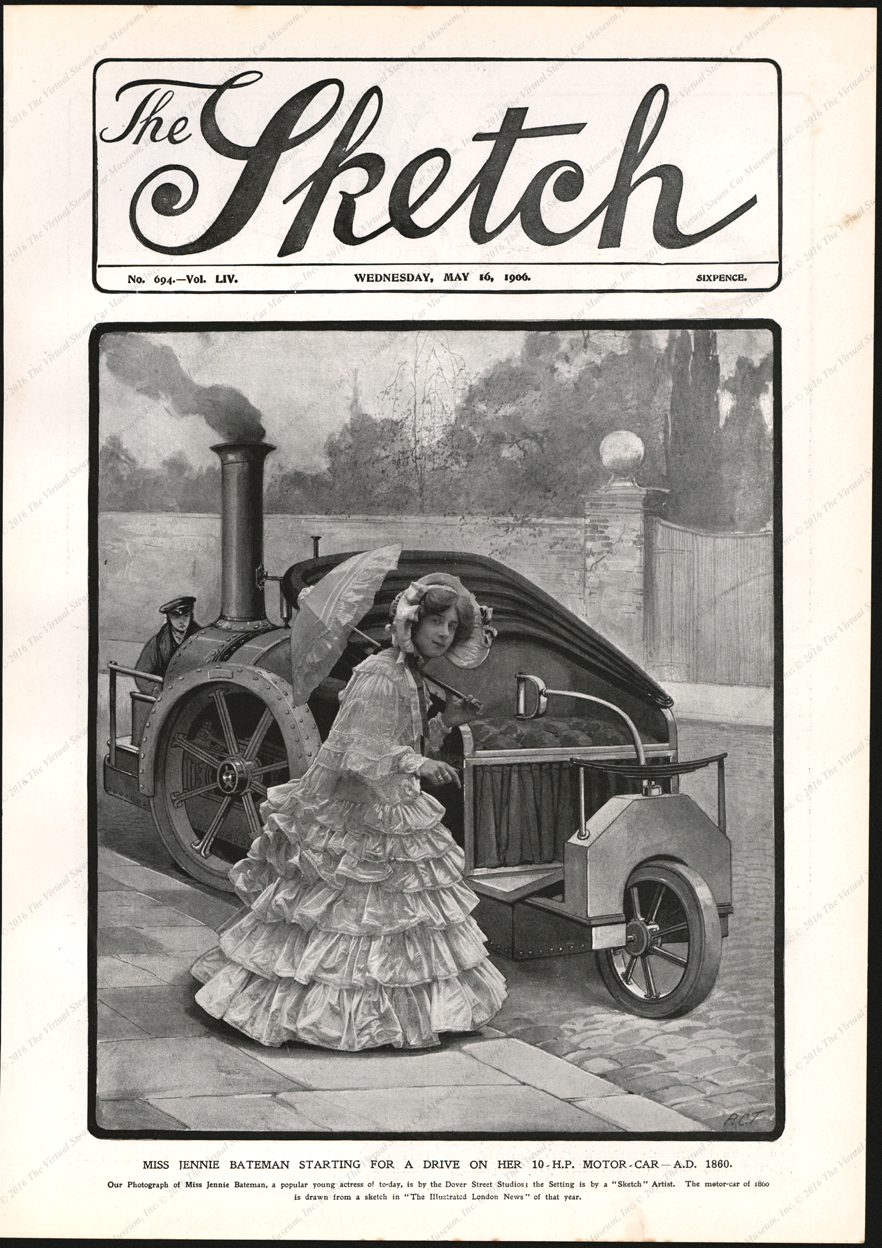 Rickett Steam Carraige, 1860 and May 16, 1906, The Sketch magazine Cover, Vol. LIV, No. 694
