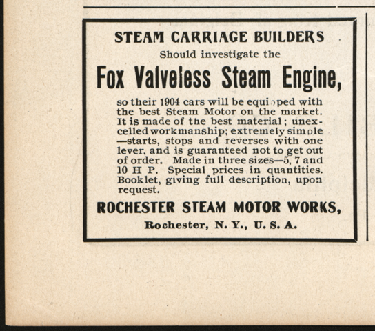 Rochester Steam Motor Works, Horseless Age, August 5, 1903, Vol. 12, No. 6, P. iv