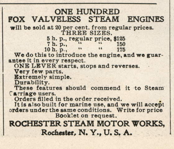 Rochester Steam Motor Works, Horseless Age, December 16, 1903, Vol. 12, No. 25, P. xxviii