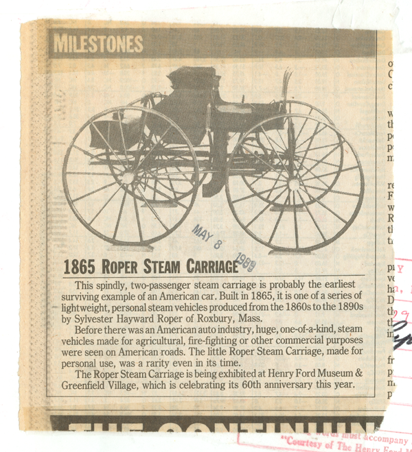 Sylvester Roper Steam Carriage, 1865, Newspaper Article